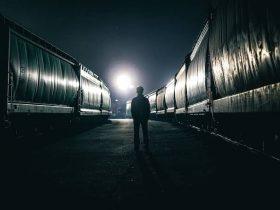 Man walking at night